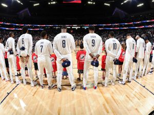 LAS VEGAS, NV - JULY 22: The USA Basketball Men's National Team stands for the national anthem before the game against Argentina on July 22, 2016 at the T-Mobile Arena in Las Vegas, Nevada. NOTE TO USER: User expressly acknowledges and agrees that, by downloading and or using this photograph, User is consenting to the terms and conditions of the Getty Images License Agreement. Mandatory Copyright Notice: Copyright 2016 NBAE (Photo by Andrew D. Bernstein/NBAE via Getty Images)