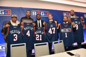 NEW YORK, NY - JANUARY 11: (L-R) Allen Iverson, Kenyon Martin; Roger Mason Jr., Jeff Kwatinetz, Ice Cube, and Rashard Lewis attend a press conference announcing the launch of the BIG3, a new, professional 3-on-3 basketball league, on January 11, 2017 in New York City. (Photo by Michael Loccisano/Getty Images for BIG3) ORG XMIT: 691015503 ORIG FILE ID: 631496556
